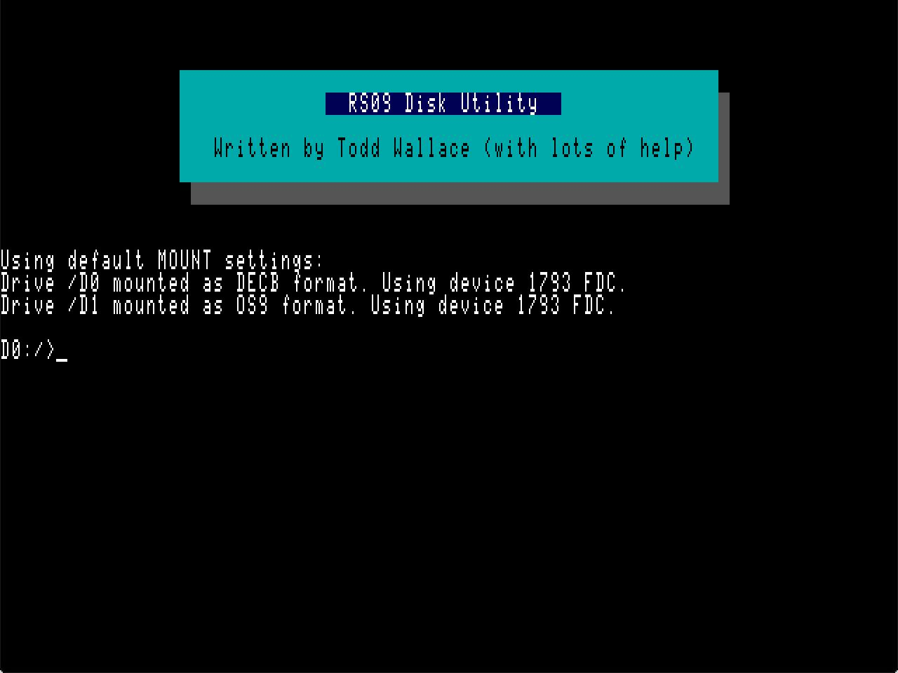 My Disk Utility Project for the Tandy Color Computer